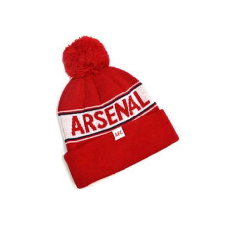 Arsenal Text Knitted Bobble Hat Red RED